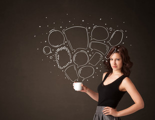 Businesswoman holding a white cup with speech bubbles
