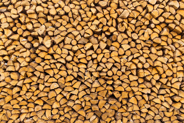 Pile of chopped firewoods