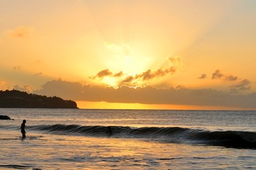 Beautiful sunset in Caribbean