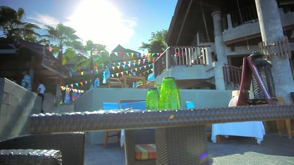 Modern tropical Villa with celebration decoration near the sea