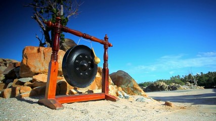 Big ancient drum used in royal ceremony at the beach on Thailand