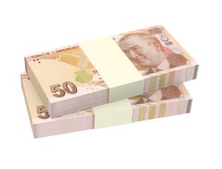 Turkish lira isolated on white background.