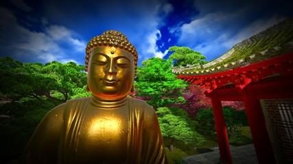 Buddha Statue in Japanese garden