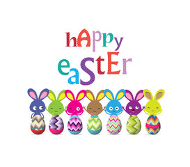 easter eggs and bunny colorful greeting card
