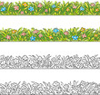 Seamless border of cartoon grass and flowers. - 78523018