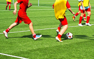 Young men are playing soccer