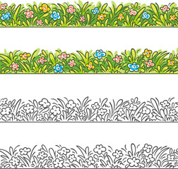 Seamless border of cartoon grass and flowers.