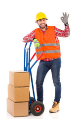 Delivery man showing ok sign