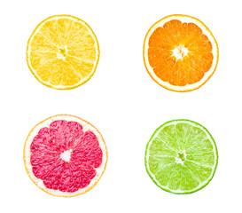 Collection of citrus slices - orange, lemon, lime and grapefruit