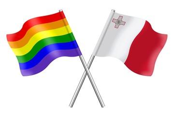 Flags: rainbow and Malta