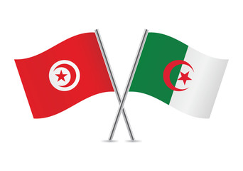 Algeria and Tunisia flags. Vector illustration.