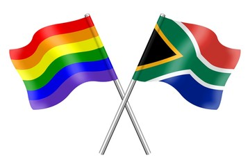 Flags: rainbow and South Africa