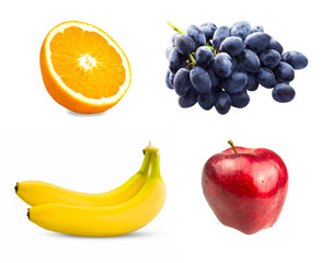 Fresh sliced orange fruit, Branch of blue grapes, Red apples and