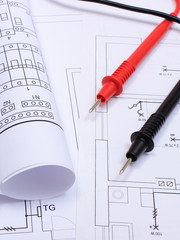 Diagrams and cables of multimeter on drawing of house