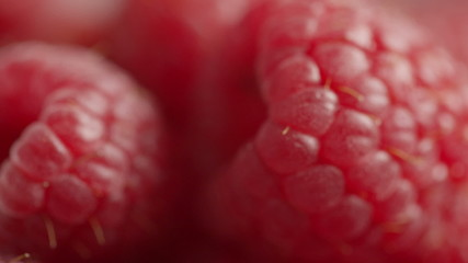 fresh ripe raspberries rotating
