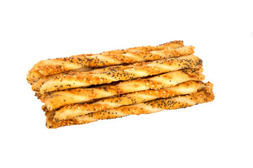 salty sticks with sesame and poppy seeds