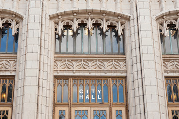 Details of entrance to neo-gothic Atlanta City hall, GA