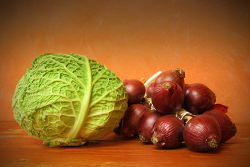 Cabbage and red onions