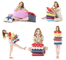 Collage of young beautiful woman with pillows isolated on white