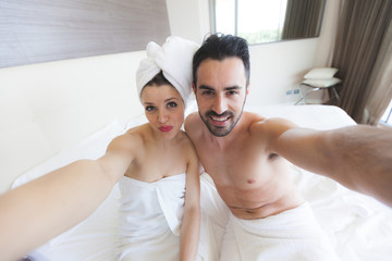 Couple Taking Selfie after Shower