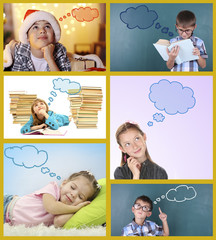 Dreaming children in collage