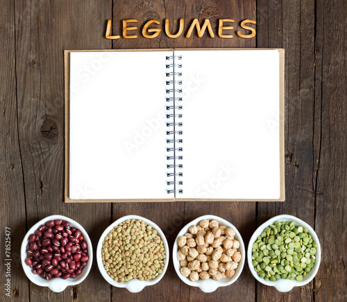 canvas print picture Variety or legumes, the word of Legumes and notebook