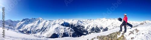 In de dag Wintersporten Snowboarder/Panoramaaufnahme