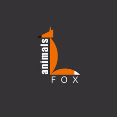 Orange Fox in the figure letter L, animal logo, zoo background