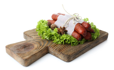 Smoked thin sausages  with lettuce salad leaves