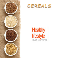 Cereals in bowls border with word Cereals