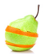 canvas print picture - Stack of slied orange and pear, isolated on white