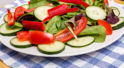 Fresh Salad with Red Peppers Close