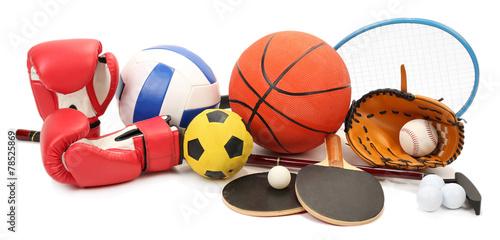 Leinwanddruck Bild Sports equipment isolated on white
