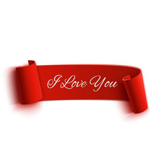 I Love You banner, isolated on white background.
