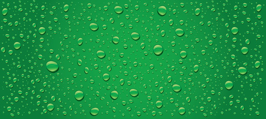 panorama of green water drops background