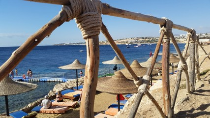 Beach at luxury hotel. Sharm el Sheikh