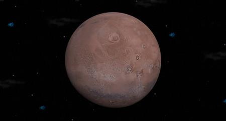 Planet Mars on Stars Background