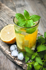 glass of lemonade, mint and lemon