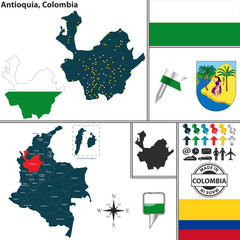 Map of Antioquia, Colombia