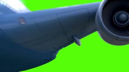 Airplane flies on green background. last three looped