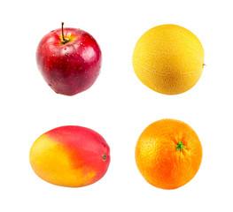 Fresh Red apple,  Mango fruit, Ripe melon and Juice orange fruit
