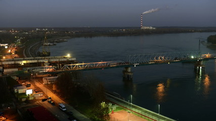 Bridge across the river at sunset  - Day to Night TIME LAPSE
