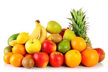 Assortment of exotic fruits isolated on white
