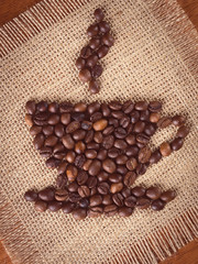 Image of cup of coffee made with coffee beans