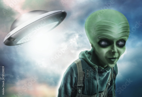 Foto op Canvas UFO Alien and UFO