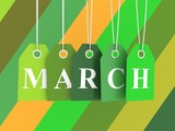 March tag on colored hanging labels. Spring colors