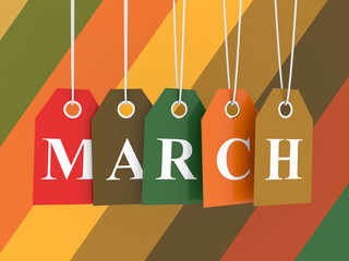 March  tag on colored hanging labels.