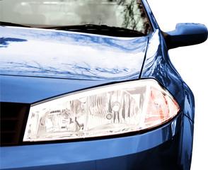 Blue Sport Car - Front side, half
