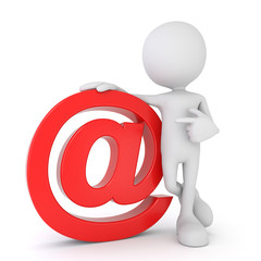 White 3d human - red email symbol