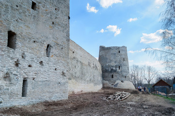 Izborsk fortress in the process of restoration